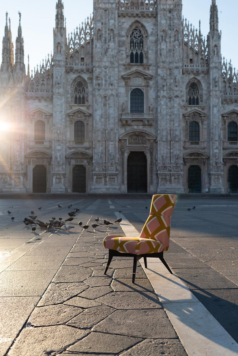 Italian Uni Special, with Diamonds Velvet by Pierre Frey, Hourglass-Shaped Backrest For Sale