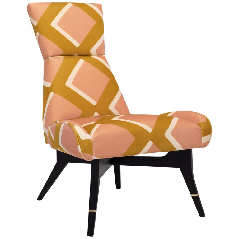 Uni Special, with Diamonds Velvet by Pierre Frey, Hourglass-Shaped Backrest For Sale