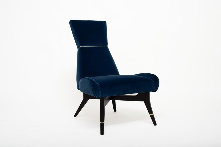 Stained Uni-Velvet Armchair with Gilt Details on the Hourglass-Shaped Backrest and Legs For Sale
