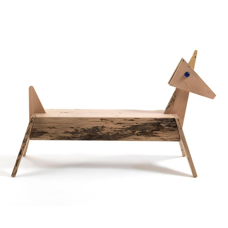 Carved Unicorn Bench For Sale
