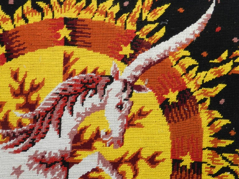 French Midcentury Tapestry by Alain Cornic Unicorn Petit Point  Wall Decoration For Sale