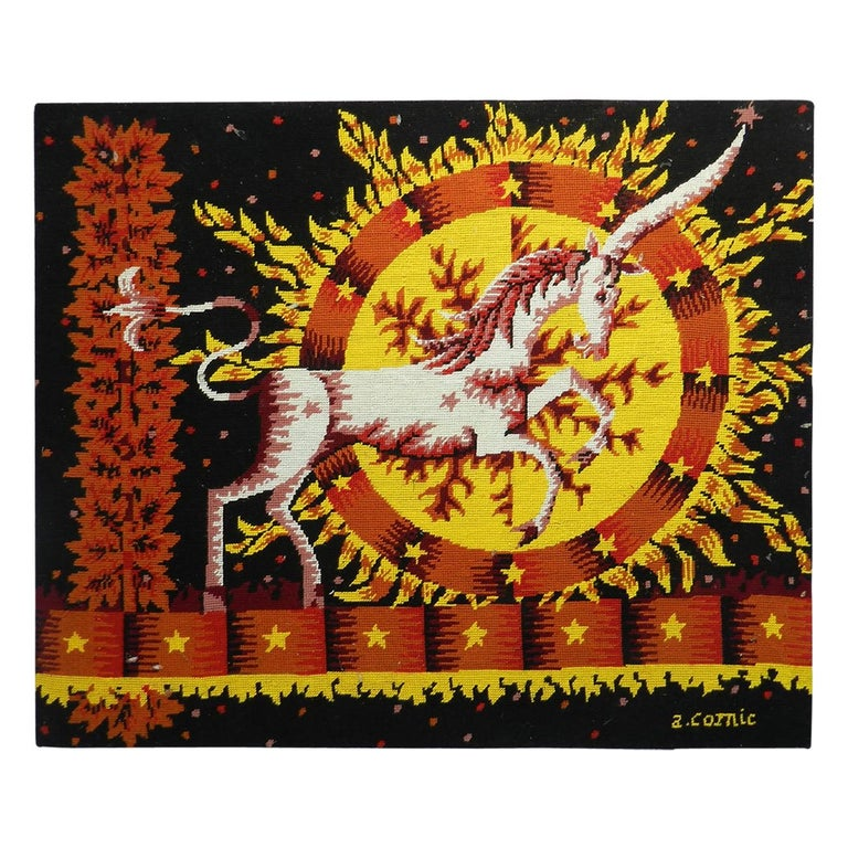 Midcentury Tapestry by Alain Cornic Unicorn Petit Point  Wall Decoration For Sale