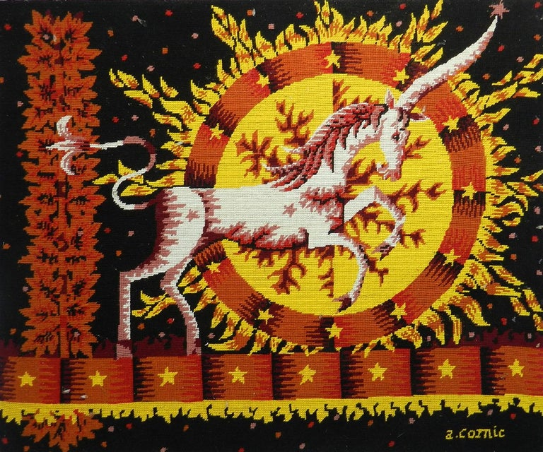 Midcentury tapestry French hand stitched needlepoint designed by Alain Cornic in the tradition of Jean Lurcat and Picart Le Doux Alain Cornic is a painter illustrator known for his highly colorful works representing life in the 1960s and 1970s The