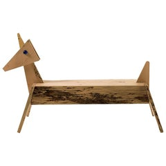 Unicorno Briccola Wood Bench, Designed by Alessandro Mendini, Made in Italy