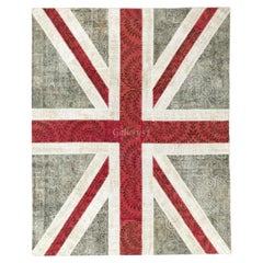 Union Jack Design Patchwork Rug Made from Over-Dyed Vintage Carpets