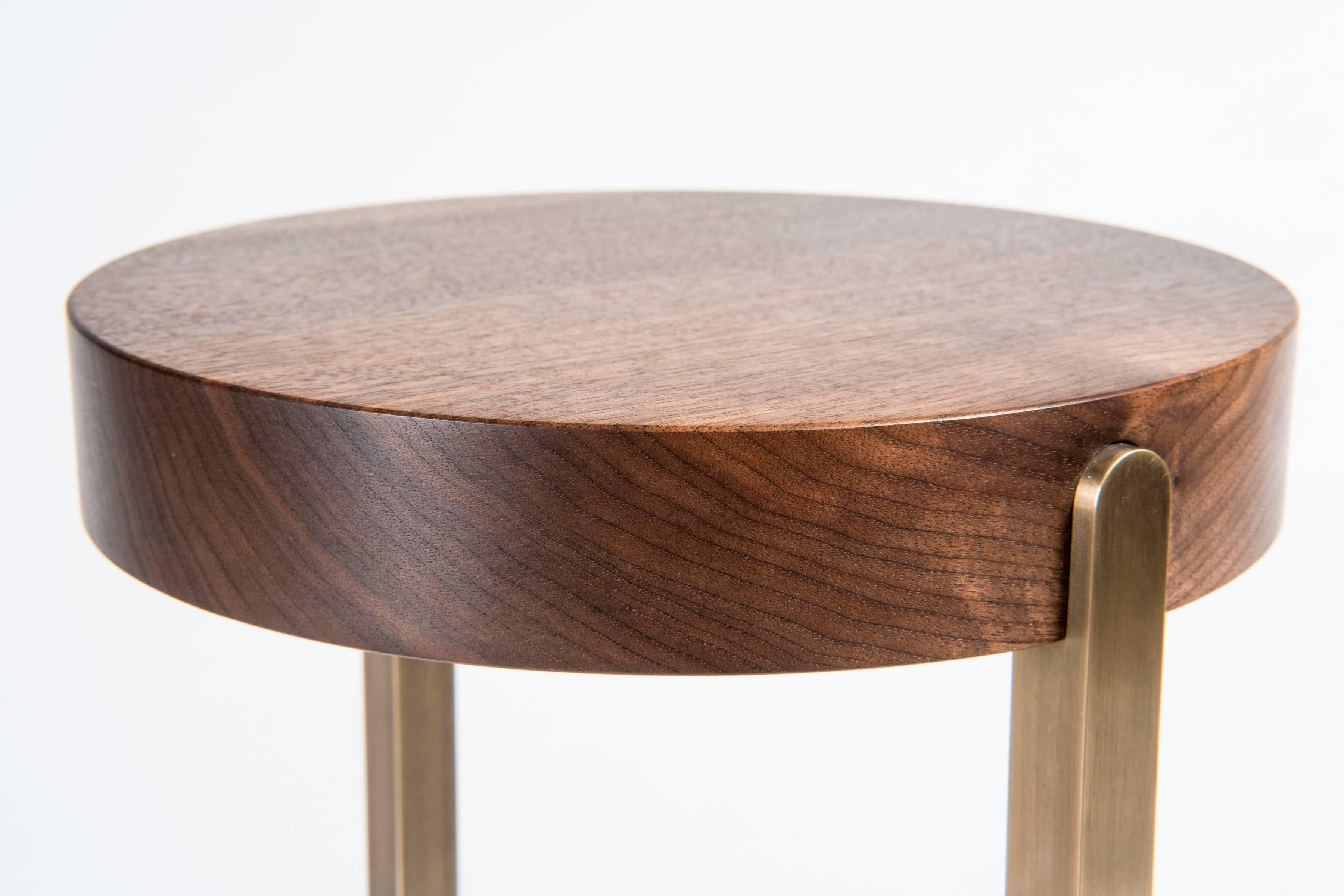 Modern Union Mini Side Table Stand By Tretiak Works, Contemporary Walnut  Brass For Sale