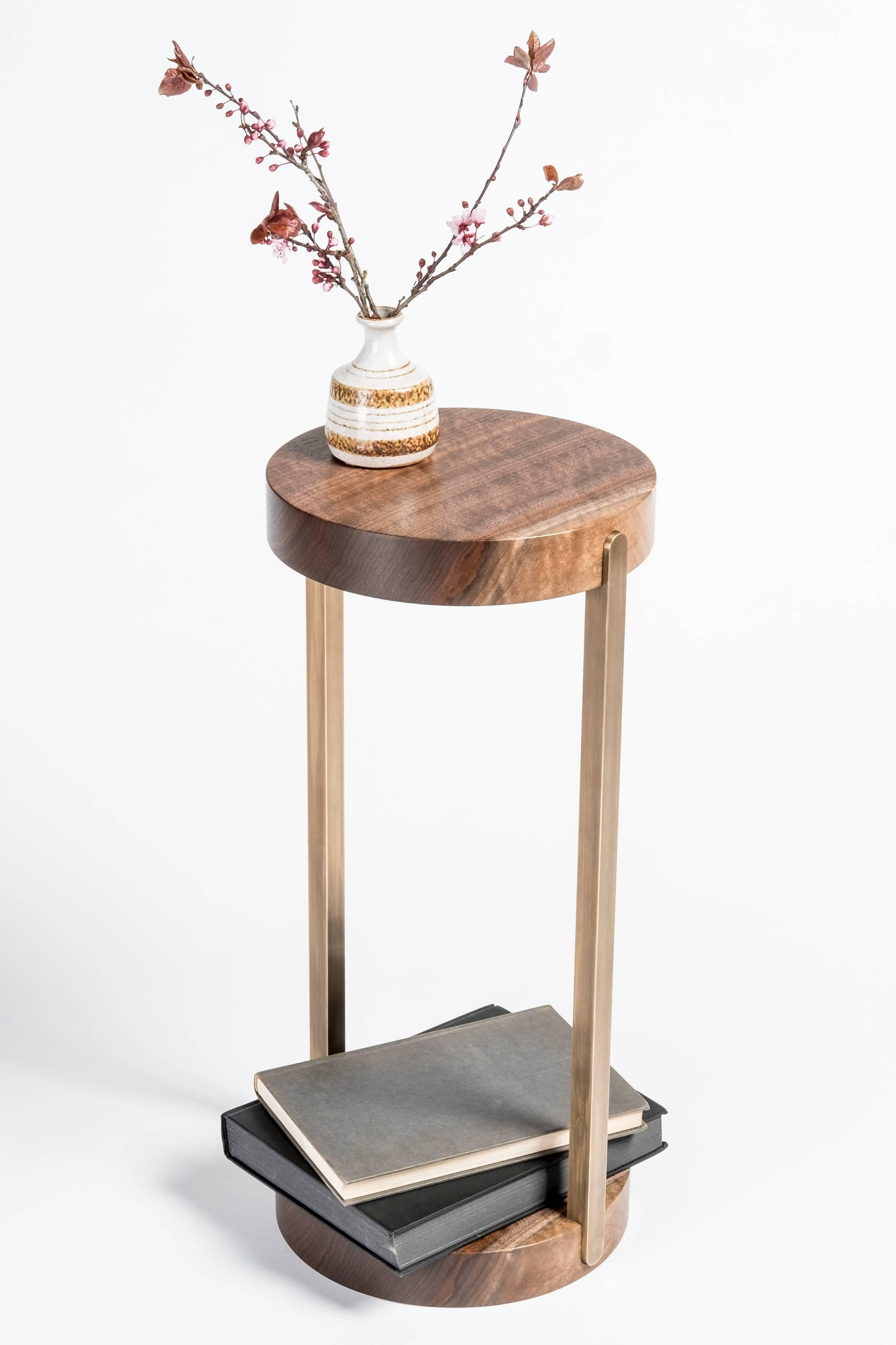 Woodwork Union Mini Side Table Stand By Tretiak Works, Contemporary Walnut  Brass For Sale
