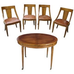 Union National Midcentury Fruitwood Italian Provincial Dining Set Table Chairs