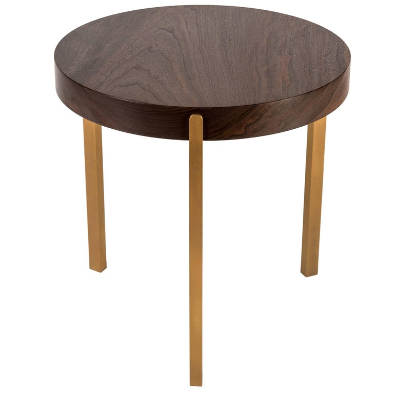 Union Side Table Sm by Tretiak Works, Contemporary Handcrafted Solid Wood Brass