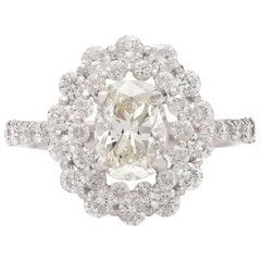 Unique 1.48 Carat Oval Diamond Halo Ring