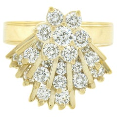 Unique 14k Gold 2.30ctw Round Diamond Spinning Fan Cluster Mobile Cocktail Ring