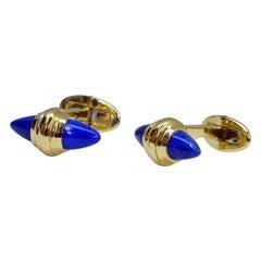 Unique 18 Karat Cabochon Lapis Lazuli Cufflinks