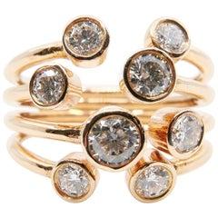 Unique 18 Karat Rose Gold Multi Stone Diamond Ring. 1.08 Carat Of Sparkles