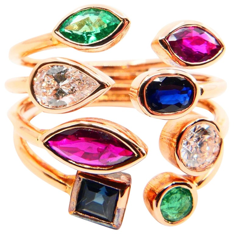 Unique 18 Karat Rose Gold Multi Stone Diamond Ring Emeralds Sapphires and Rubies For Sale
