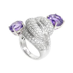 Unique 18 Karat White Gold Diamond and Amethyst Ring