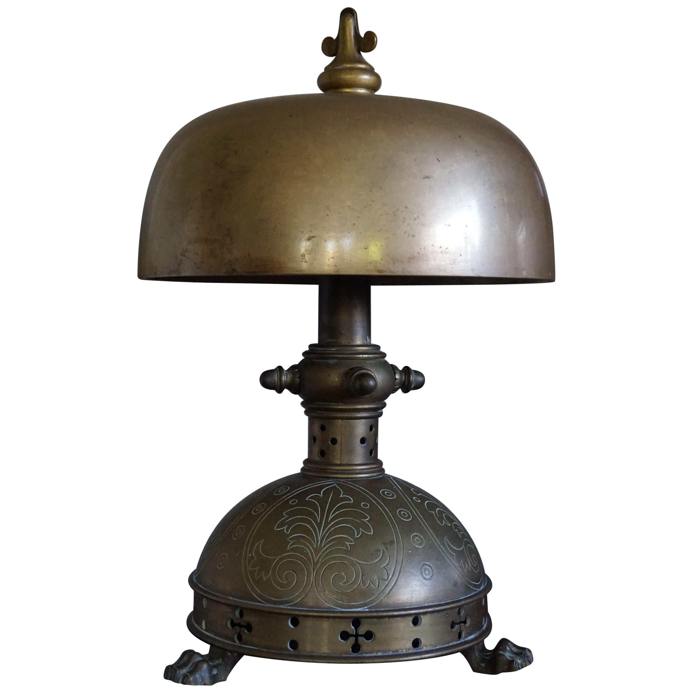 Unique 1800s Gothic Revival Bronze Church Altar Gong Also Usable as Table Lamp