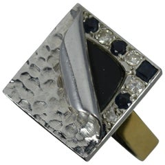 Unique 18ct Gold Onyx Diamond Sapphire Statement Ring