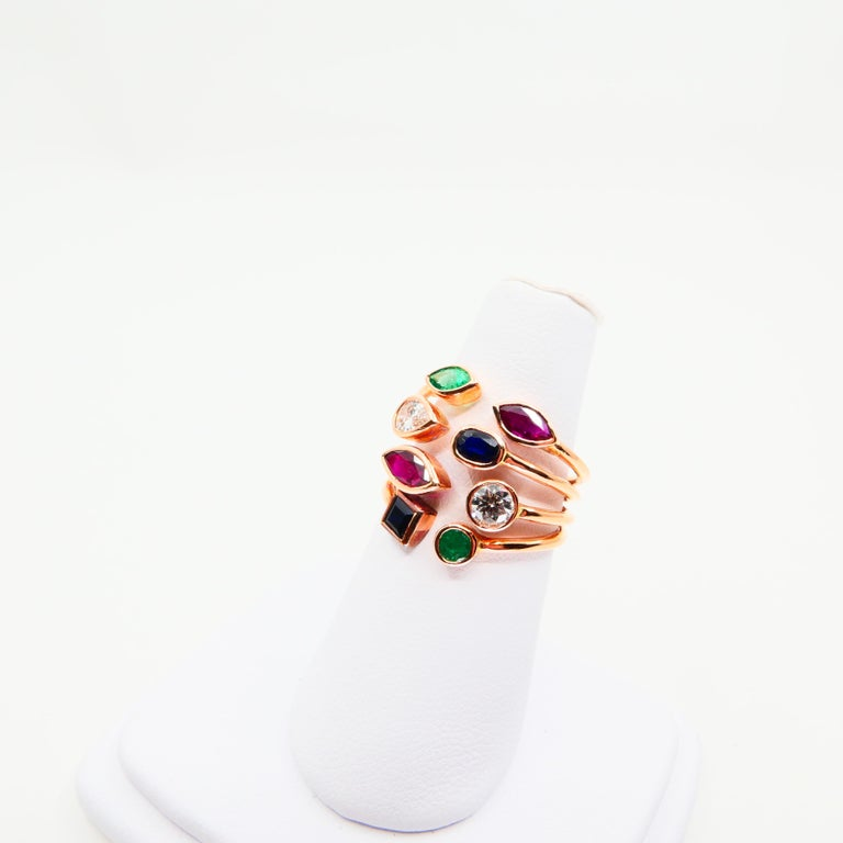 Contemporary Unique 18 Karat Rose Gold Multi Stone Diamond Ring Emeralds Sapphires and Rubies For Sale