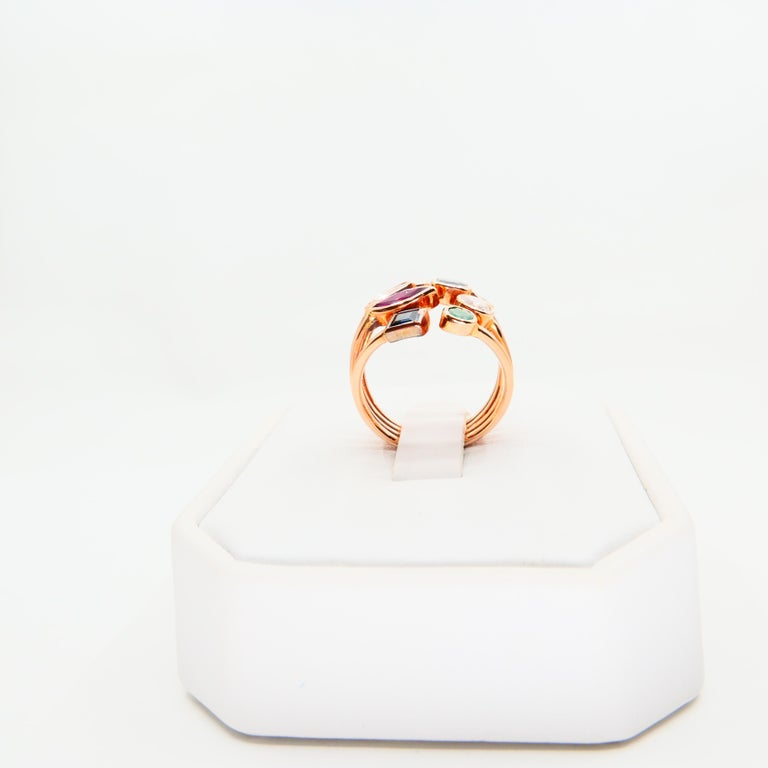 Pear Cut Unique 18 Karat Rose Gold Multi Stone Diamond Ring Emeralds Sapphires and Rubies For Sale