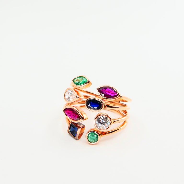 Unique 18 Karat Rose Gold Multi Stone Diamond Ring Emeralds Sapphires and Rubies In New Condition For Sale In Hong Kong, HK