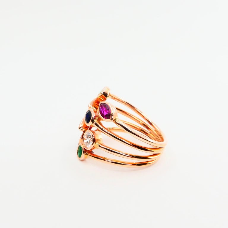 Women's Unique 18 Karat Rose Gold Multi Stone Diamond Ring Emeralds Sapphires and Rubies For Sale