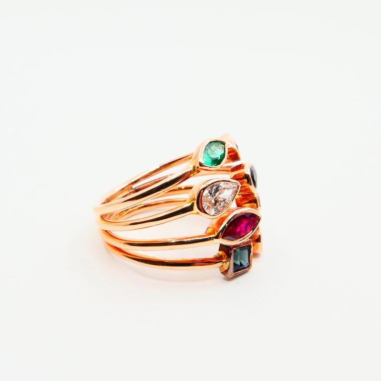Unique 18 Karat Rose Gold Multi Stone Diamond Ring Emeralds Sapphires and Rubies For Sale 2