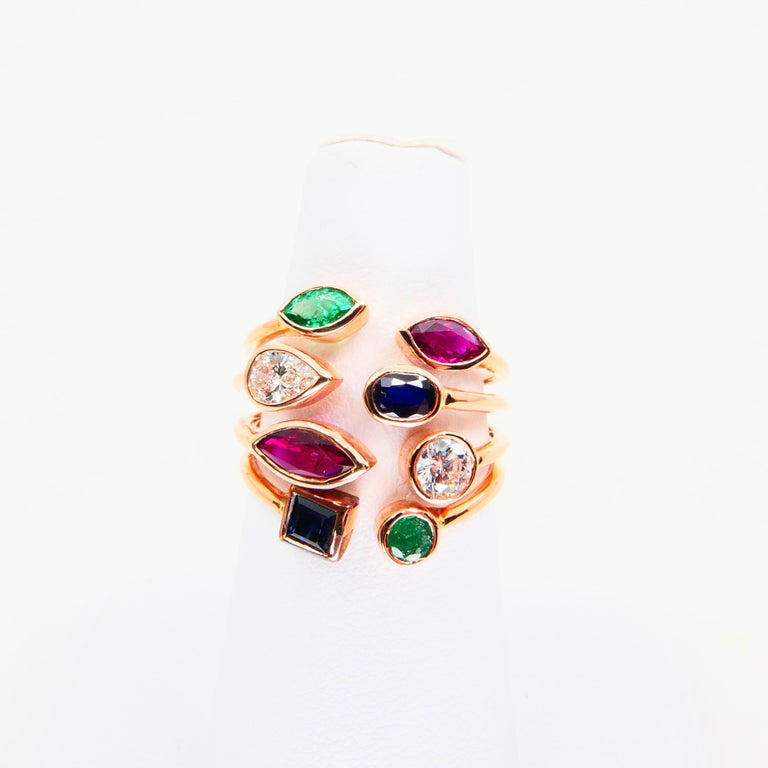 Unique 18 Karat Rose Gold Multi Stone Diamond Ring Emeralds Sapphires and Rubies For Sale 3