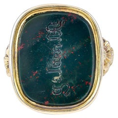 Unique 18th Century Bloodstone Intaglio Ring