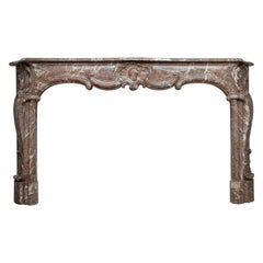 Unique 18th Century Rococo Style Marble Antique Fireplace