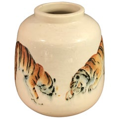 "Unique 1930s Raoul Lachenal ""Tiger"" Vase, Painted by Jean-Camille Cipra"