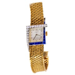 Unique 1960s 18Kt Vacheron Constantin Asymmetrical Sapphire Diamond Wristwatch