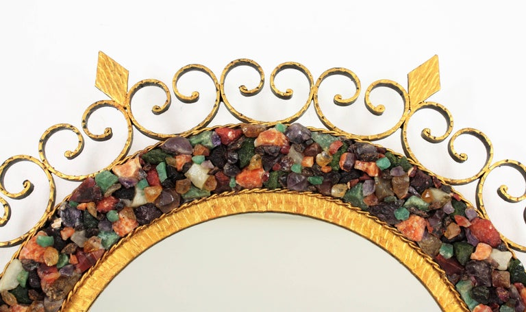 Spanish Midcentury Backlit Wrough Gilt Iron Gemstones Mosaic Sunburst Mirror For Sale 7