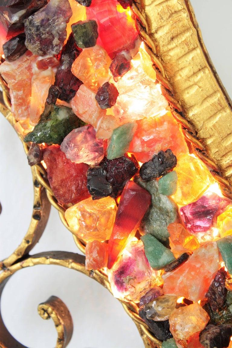 Mid-Century Modern Spanish Midcentury Backlit Wrough Gilt Iron Gemstones Mosaic Sunburst Mirror For Sale