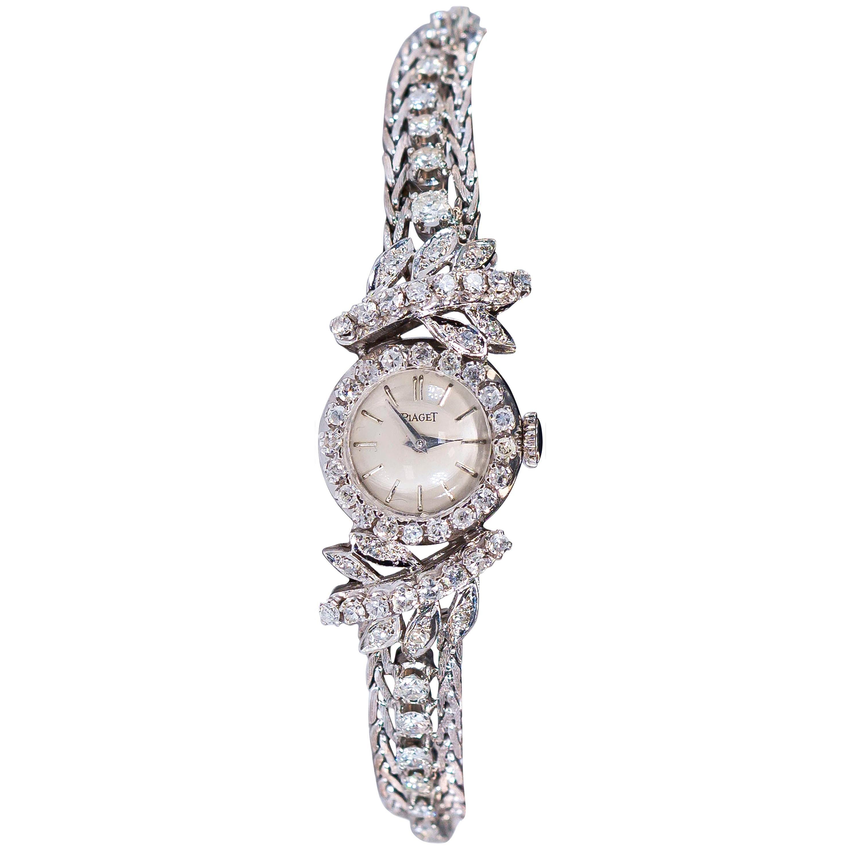 1960s Piaget 18 Karat Gold Diamond Tree and Leaf Motif Bracelet Watch