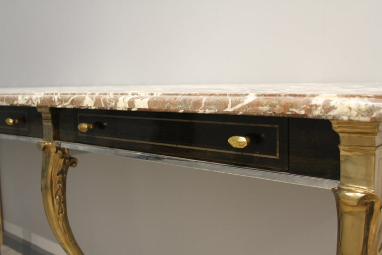Unique 1970s Hollywood Regency Sideboard with Brass Hoof Legs and Marble Top For Sale 5
