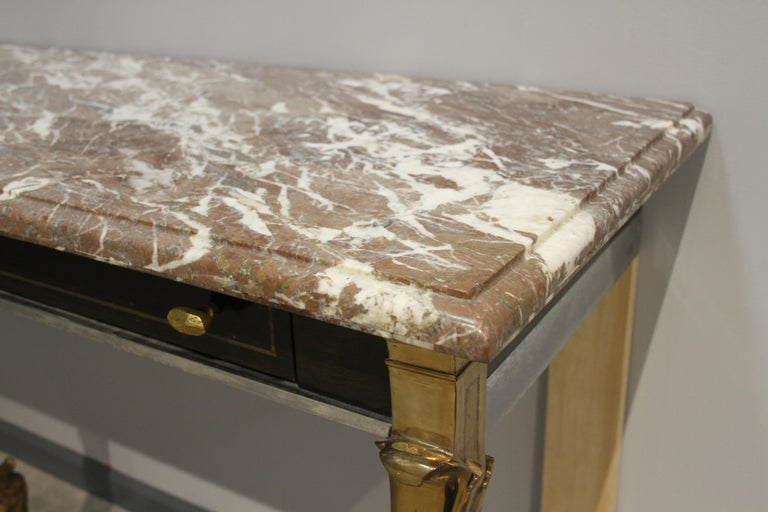 Unique 1970s Hollywood Regency Sideboard with Brass Hoof Legs and Marble Top For Sale 6
