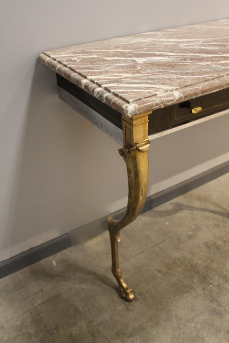 Unique 1970s Hollywood Regency Sideboard with Brass Hoof Legs and Marble Top For Sale 7