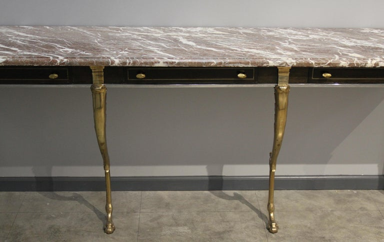 Unique 1970s Hollywood Regency Sideboard with Brass Hoof Legs and Marble Top For Sale 8