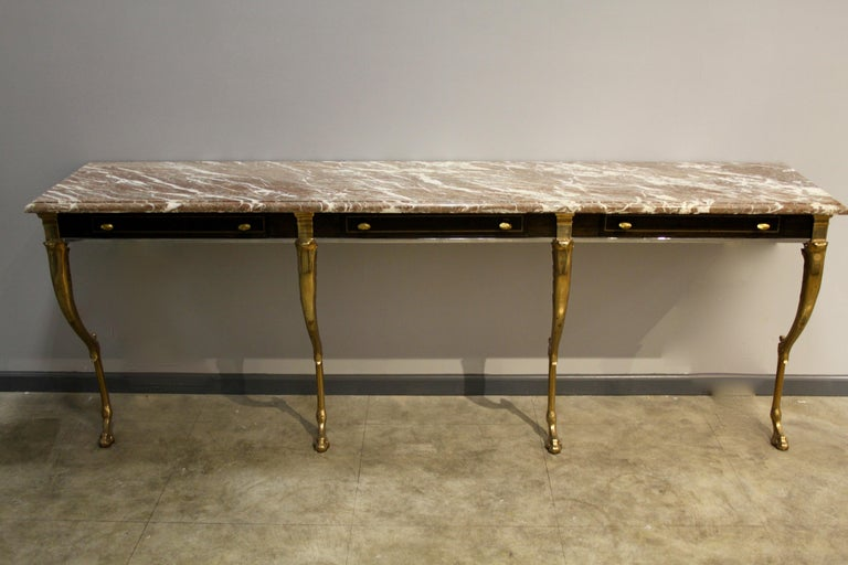 Unique 1970s Hollywood Regency Sideboard with Brass Hoof Legs and Marble Top For Sale 1