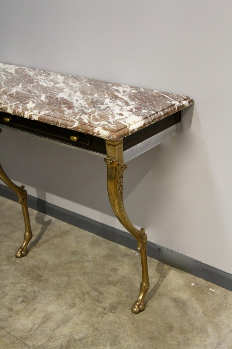 Unique 1970s Hollywood Regency Sideboard with Brass Hoof Legs and Marble Top For Sale 2
