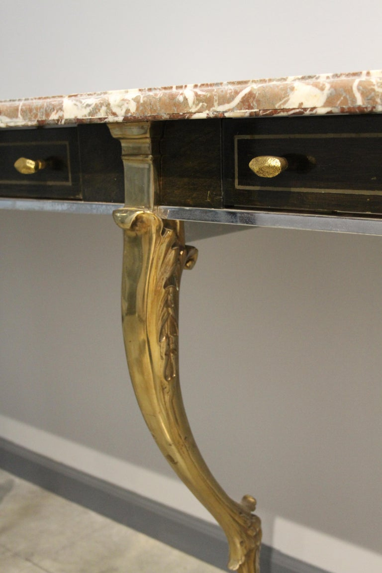 Unique 1970s Hollywood Regency Sideboard with Brass Hoof Legs and Marble Top For Sale 3