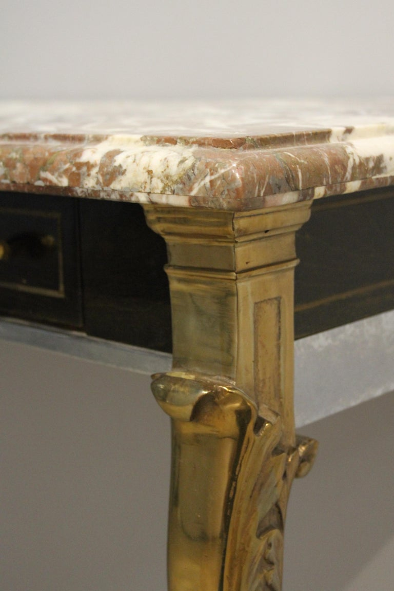 Unique 1970s Hollywood Regency Sideboard with Brass Hoof Legs and Marble Top For Sale 4
