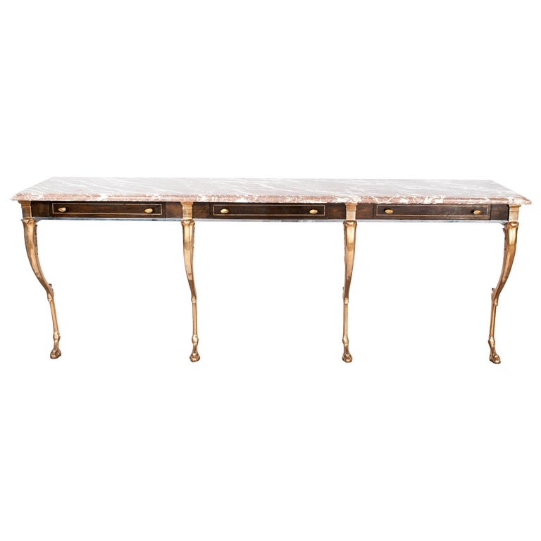 Unique 1970s Hollywood Regency Sideboard with Brass Hoof Legs and Marble Top For Sale