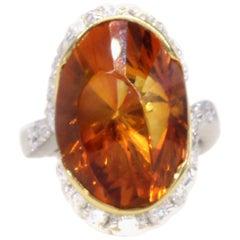 Unique 1970s Madeira Citrine Diamond Platinum 18 Karat Gold Ring