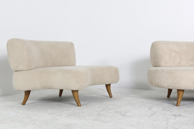 Unique 1970s Modular Curved Sofa With Teddy Bear Fur And