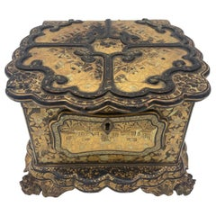 Unique 19th Century  Export Chinese Gilt Chinoiserie Lacquer Box