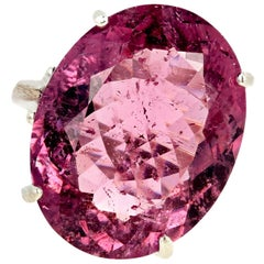 Unique 20.04 Carat Pinky Purple Tourmaline Ring