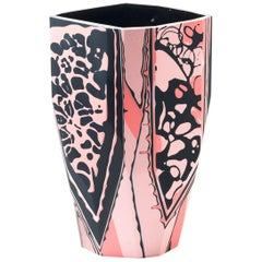 Unique 21st Century Resin Nakuru Vase in Coral and Black