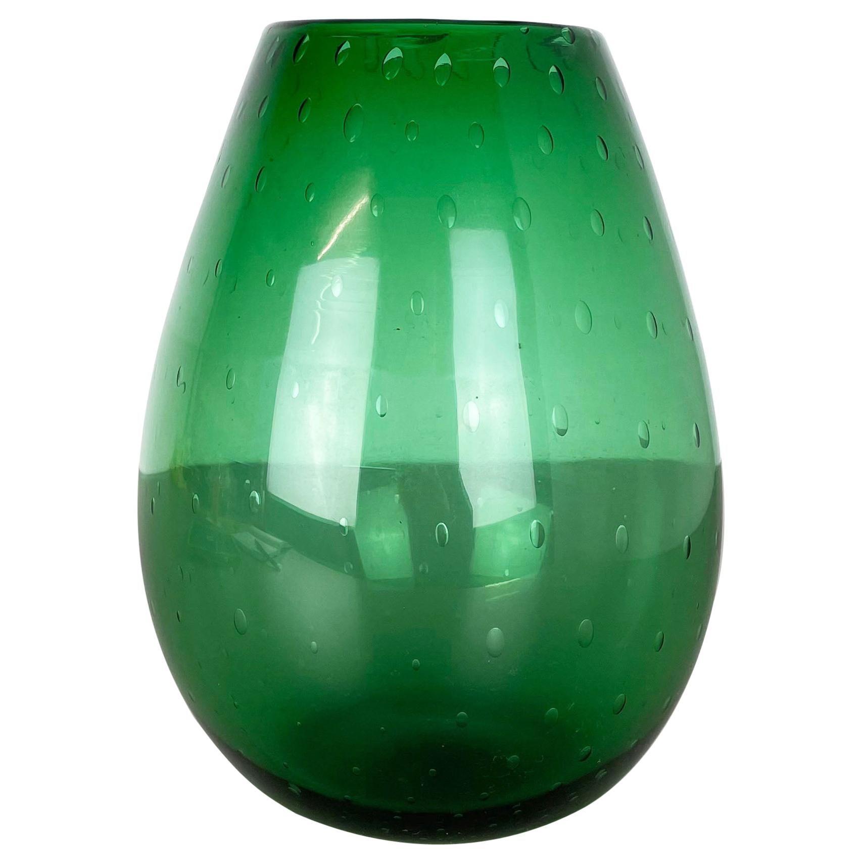 Unique Green Bubble Sommerso Bullicante Murano Glass Vase, Italy, 1970s