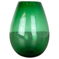 Unique Green Bubble Sommerso Bullicante Murano Glass Vase, Italy, 1970s